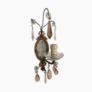 Vintage Spiegelwandleuchten mit pinken Anhängern aus Kristallglas, 2er Set