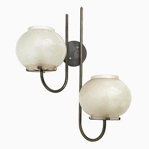 Apliques italianos de vidrio de Arteluce, años 60. Juego de 3
