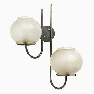 Italian Glass Sconces from Arteluce, 1960s, Set of 3
