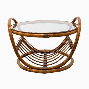 Tavolino in vetro e bambù, anni '60
