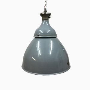 Industrial Dome Light in Grey Enamel from Benjamin, 1950s