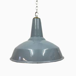 Lampe 19 Grise Industrielle en Émail par Benjamin Crysteel, 1950s