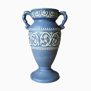 Blaue deutsche Mid-Century Vase von Ü-Keramik