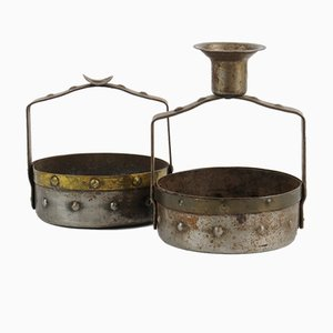 Candlestick & Ashtray by Hugo Berger for Goberg Metallwarenfabrik, 1900s