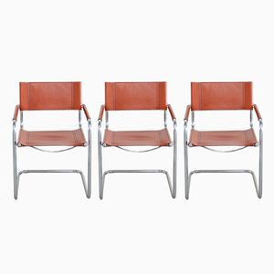 MG Leather Chairs by Centro Studi for Matteo Grassi, 1970s, Set of 3