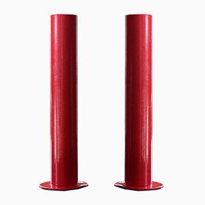 Rote schwedische Kerzenständer, 1960er, 2er Set