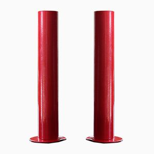 Swedish Red Candleholders, 1960s, Set of 2