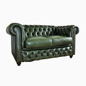2-Seater Leather Chesterfield Sofa, 1950s