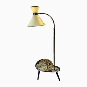 French Floor Lamp Table, 1950s