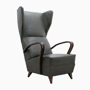 Italian High Back Armchair, 1940s