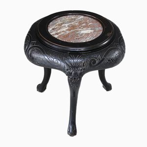 Antique Chinese Side Table with Marble Top