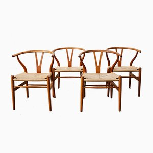 CH24 Wishbone Chairs by Hans J. Wegner for Carl Hansen, 1960s, Set of 4