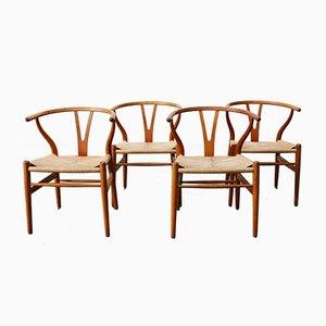CH24 Wishbone Chairs by Hans J. Wegner for Carl Hansen, 1960s, Set of 4