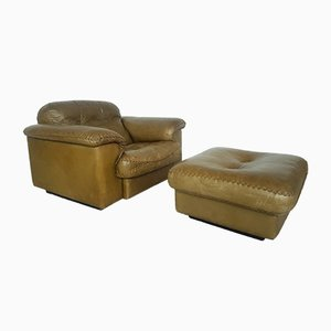 DS101 Club Chair with Ottoman from de Sede, 1960s