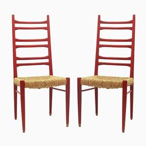 Chaises de Salle à Manger en Joncs et Bois, 1960s, Set de 2
