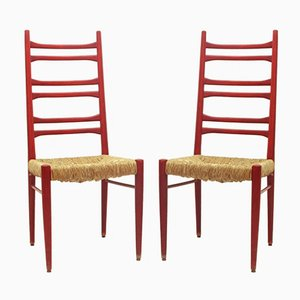 Wood & Rush Dining Chairs, 1960s, Set of 2