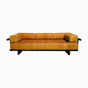 Sofá cama DS 80 vintage de retazos de cuero de de Sede, años 60