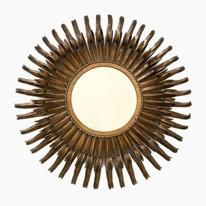 Mid-Century French Modern Sunburst Gilt Metal Wall Mirror