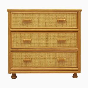 Spanish Rattan & Bamboo Chest Of Drawers, 1970s