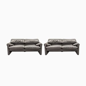 Leather Maralunga Sofas by Vico Magistretti for Cassina, 1970s, Set of 2