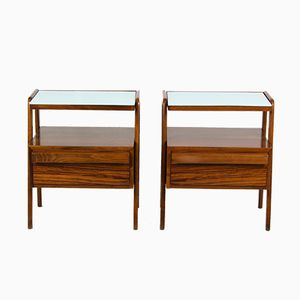 Mid-Century Nightstands with Blue Glass Tops from Jitona, 1960s, Set of 2
