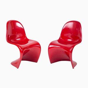 Roter Vintage Panton Stuhl von Verner Panton für Herman Miller