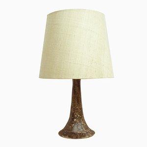 Lámpara de escritorio de cerámica y tela, años 60