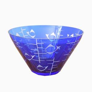 Blaue Vintage Schale aus Glas von Rosenthal, 1950er
