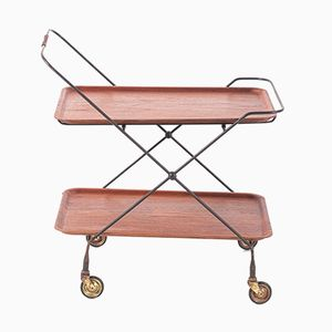 Foldable Teak Plywood Trolley, 1960s