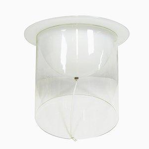 Italian Table Lamp in Lattimo Glass & Transparent Glass, 1970s