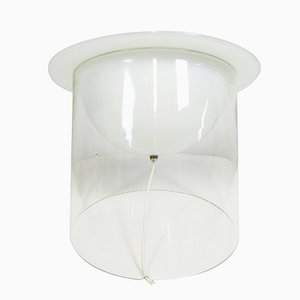 Lampe de Bureau en Verre Lattimo et Verre Transparent, Italie, 1970s