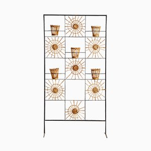 Wicker and Wrought Iron Planter Room Divider, 1960s