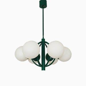 Lámpara de araña Sputnik de vidrio opalino de Kaiser Leuchten, años 60