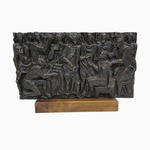 Italian Bronze Bas-Relief Sculpture by Gianluigi Giudici, 1970s