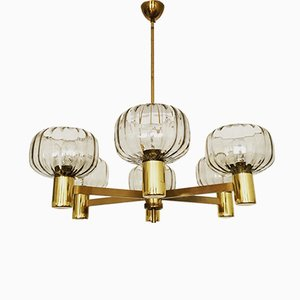 Vintage Brass Chandelier with Smoked Glass Lampshades, 1960s