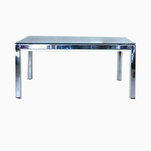 Italian Gold Chrome & Glass Square Coffee Table by Renato Zevi, 1970s