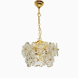 Gilt Crystal Glass Chandelier, 1970s