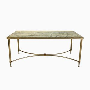 Coffee Table in Golden Brass and Black Veined White Marble, 1970s