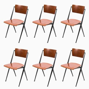 Vintage Stackable Pyramid Chairs by Wim Rietveld for Ahrend De Cirkel, Set of 6