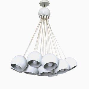 Weiß lackierter italienischer Kronleuchter aus Metall mit 19 Lampenschirmen, 1980er