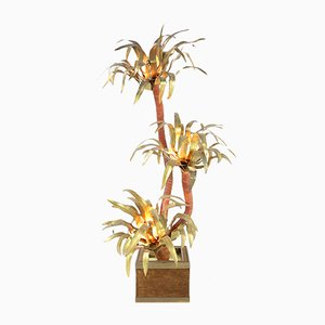 Brass Palm Tree Floor Lamp from Maison Janssen, 1970s