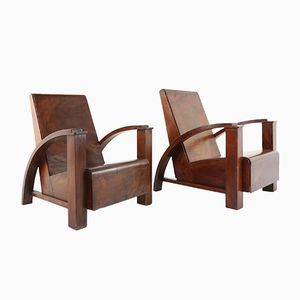French Mahogany Colonial Lounge Chairs, 1940s, Set of 2