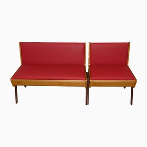 Red Bench with Storage, 1950s