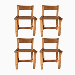 Trybo Pine Chairs by Edvin Helseth for Stange Bruk, 1970s, Set of 4