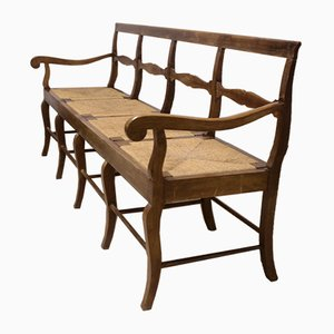Panchina a 4 posti vintage in legno di noce
