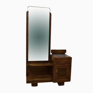 Italian Walnut Dressing Table with Mirror, 1940s