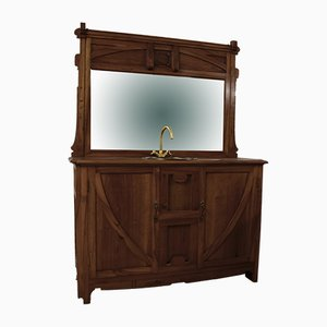 Art Nouveau Bathroom Cabinet in Walnut