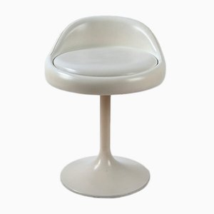 Swivel Stool in White Imitation Leather, 1960s
