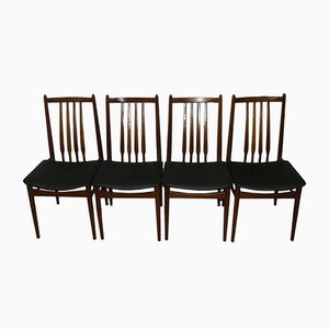 Black Leatherette Dining Chairs, 1960s, Set of 4