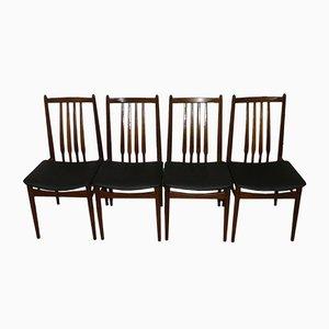 Schwarze Esszimmerstühle mit Kunstlederbezug, 1960er, 4er Set